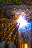 Welding sparks close up. Stock Photos