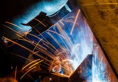 Welding with sparks Stock Images