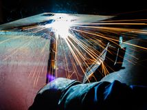 Welding with sparks Royalty Free Stock Images