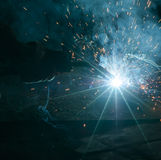 Welding with sparks stock photography