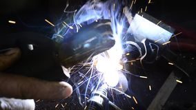 Welding with sparks Royalty Free Stock Image