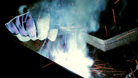 Welding with sparks stock footage