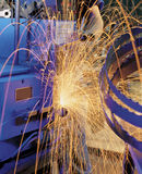 Welding sparks. Spark welding and welding machine in operation Stock Photography