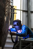 Welding. Sparks of welders in the industry Stock Photography