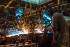 Welding with sparks Royalty Free Stock Photography