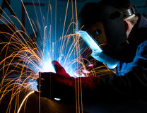 Welding steel construction Royalty Free Stock Photo