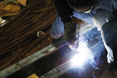 Welding Steel fire fix,smoke Stock Image