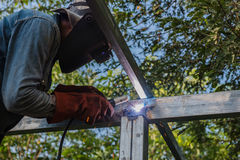 Welding steel by the male worker in industrial metal steel.  Royalty Free Stock Photo