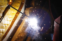 Welding steel in night Royalty Free Stock Photos