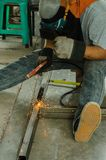 Welding Steel. Steel pipe abstr  bar  close  coiled  Xhsiao  macro Stock Images