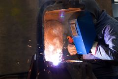 Welding of steel profiles Royalty Free Stock Photography