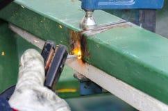 Welding a steel railing Stock Image