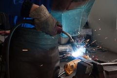 Welding steel and sparks Stock Image