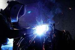 Welding steel and sparks