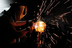 Welding steel and sparks Royalty Free Stock Photo