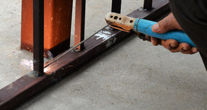 Welding steel with sparks Stock Photo