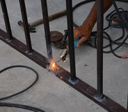 Welding steel with sparks Stock Image