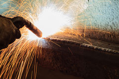 Welding steel structure in workshop Royalty Free Stock Photo