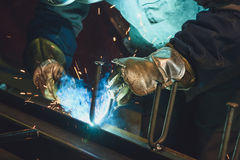 Welding steel structures Royalty Free Stock Images