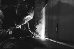 Welding steel structures Royalty Free Stock Image