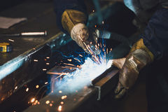 Welding steel structures Royalty Free Stock Photo