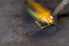 Welding torch and cpu Stock Photo