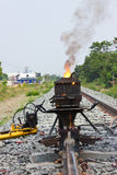 Welding tracks. Welding tracks,build a new railway in Thailand Royalty Free Stock Photography