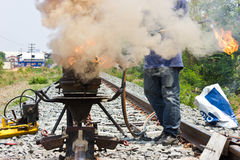Welding tracks. Welding tracks for building railway Stock Image
