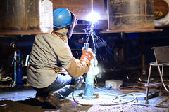 Welding work. In the night time Royalty Free Stock Images