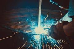 Welding Work. Erecting Technical Steel Industrial Steel Welder In Factory. Craftsman. Stock Image