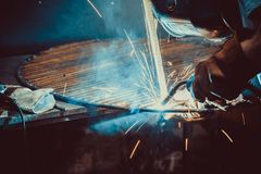 Welding Work. Erecting Technical Steel Industrial Royalty Free Stock Images