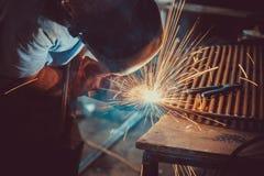 Welding Work. Erecting Technical Steel Industrial Steel Welder In Factory. Stock Images