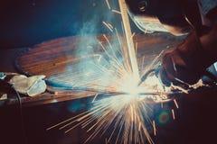 Welding Work. Erecting Technical Steel Industrial Steel Welder In Factory. Stock Photography