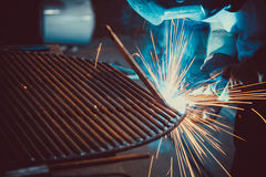 Welding Work. Erecting Technical Steel Industrial Steel Welder In Factory. Royalty Free Stock Image