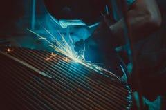 Welding Work. Erecting Technical Steel Industrial Steel Welder In Factory. Stock Photos