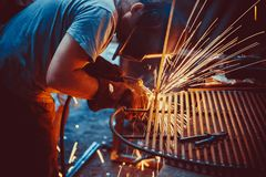 Welding Work. Erecting Technical Steel Industrial Steel Welder In Factory Royalty Free Stock Photography