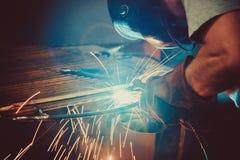 Welding Work. Erecting Technical Steel Industrial Steel Welder In Factory Stock Images