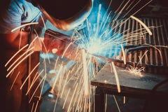 Welding Work. Erecting Technical Steel Industrial Steel Welder In Factory Royalty Free Stock Photo
