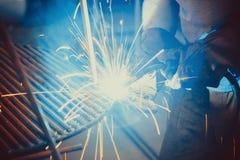 Welding Work. Erecting Technical Steel Industrial Stock Image