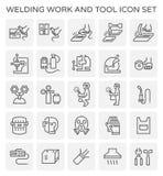 Welding work icon. Welding work and tool icon set Stock Photography