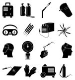 Welding work industrial icons set Stock Photo