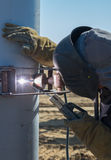 Welding work for pile of building. Welding work on construction site for pile of building Royalty Free Stock Images