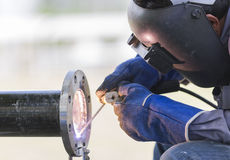 Welding work and piping Royalty Free Stock Photo