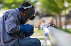 Welding work and piping Royalty Free Stock Photos