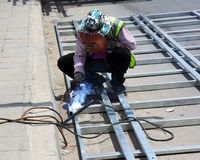 Welding work for steel Royalty Free Stock Photography