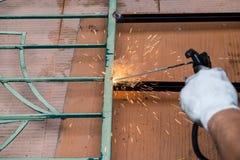 Welding work for steel. The welding work for steel Stock Photos