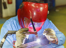 Welding work by TIG welding Stock Photo