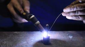 Welding work by TIG welding to repair detail stock footage