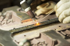 Welding work by TIG welding Royalty Free Stock Images