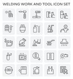 Welding work icon. Welding work and tool icon set Royalty Free Stock Image
